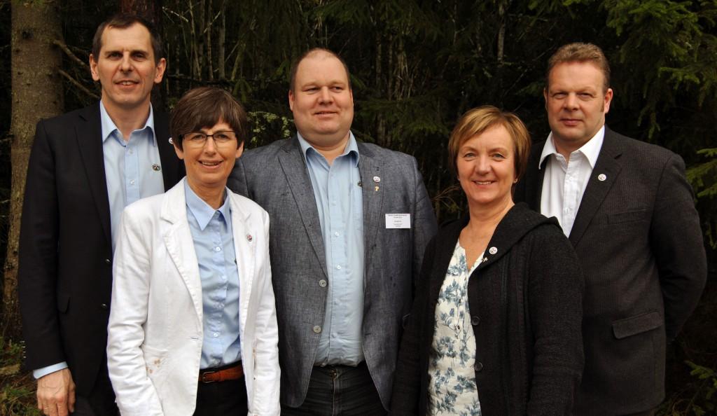 Styret i NLT 2016. Fv: Tor Inge Eidessen, Aud Fossøy, Harald Lie, Bodil Mannsverk og Finn-Egil Adolfsen.